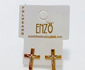 Brinco Dourado Pequeno Crucifixo - REF: PT0280