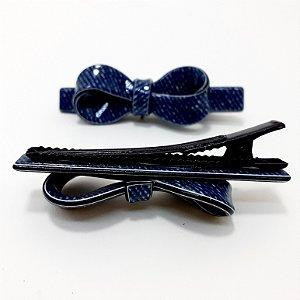 2 Presilhas Bico De Pato De Cabelo De Vinil Em Laço Pequeno - Jeans Azul