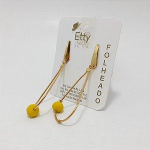 Brinco Dourado Com Pedrinha Amarela - REF: PT0289