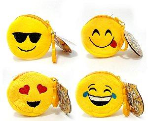 Chaveiro Porta Níquel De Pelúcia Com Zíper - Temático Emoji Emoticons - Wellmix