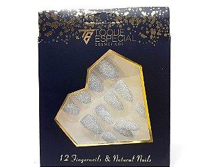 Embalagem com 12 Unhas Postiças - Stiletto Com Glitter