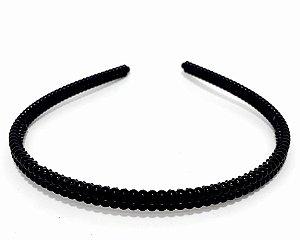 Tiara Fina Básica De Plástico - Preto Com Bolinhas