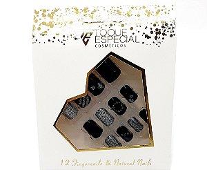 Embalagem com 12 Unhas Postiças - Quadradas Preto