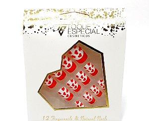 Embalagem com 12 Unhas Postiças - Quadradas Coração