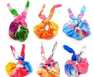 Elástico De Tecido Para Cabelo Scrunchie Com Laço - Tie Dye