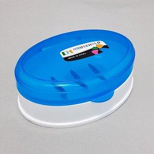 Saboneteira Em Plástico Com Tampa Transparente Azul - Shock