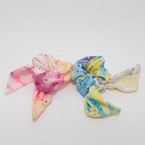Elástico De Tecido Furadinho Para Cabelo Scrunchie Com Laço - Tie Dye