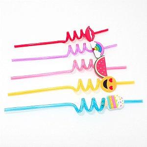 Canudo Divertido De Plástico Com Pingente - Coloridos