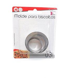 Kit Com 3 Moldes Para Biscoitos De Metal Circular - Top House