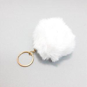 Chaveiro Com Argola De Pelúcia Bola PomPom - Branco