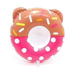 Boia Porta Copo Inflável Donuts Rosa