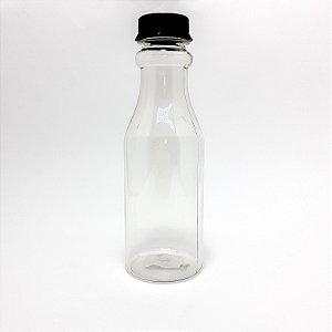 Garrafa De Plástico Transparente 500ml Com Tampa De Rosca Preta