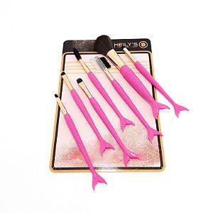 7 Pinceis De Maquiagem Com Cabo De Sereia Pink - Meily's