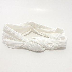 Faixa Turbante Para Cabelo De Tecido Poliéster - Branco