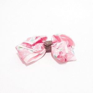 Presilha De Cabelo Com Laço Rosa Grande Florido