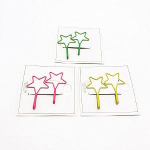 Cartela Com 2 Presilhas Em Grampo De Estrela Para Cabelo - Colorido