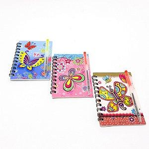 Caderneta Com Espiral E Caneta - Temático Borboletas