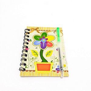 Caderneta Com Espiral E Caneta - Temático Flor