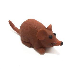 Rato Mordedor Para Pets De Borracha Marrom Com Som