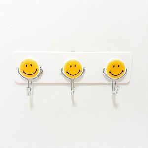 Cabideiro Para Adesivar De Plástico Com 3 Ganchos - Smile