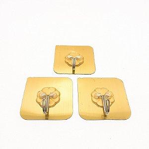 Embalagem Com 3 Ganchos Dourados Auto Adesivo Para Organização Sem Furo - InterPonte