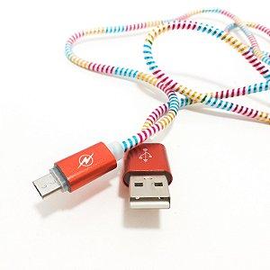 Cabo USB / Micro USB Trançado Vermelho - 1,4m