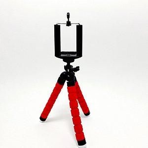 Mini Tripé De Mesa Flexível Para Celular - Vermelho