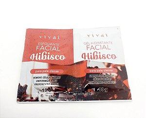 2 Sachês Máscara Facial Esfoliante E Gel Hidratante De Hibisco 10g - Vivai