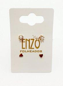 Cartela Com 2 Pares De Brinco Dourado  - REF: PT0357