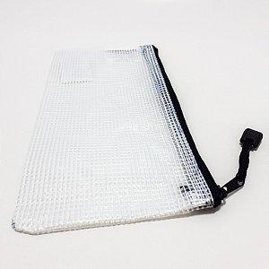 Necessaire Porta Objetos De Plástico - Branco Com Zíper Preto