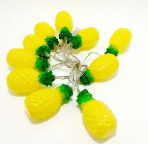 Cordão De Luz De Led À Pilha Abacaxi De Plástico - Amarelo