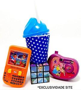 Kit Brinquedos Temáticos Infantil Com Copo - 4 Peças