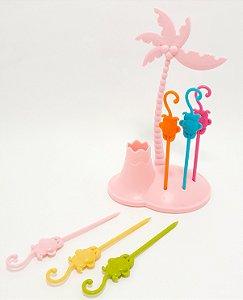 Pegador De Petisco De Plástico 6 Peças Temático Coqueiro Rosa - FWB