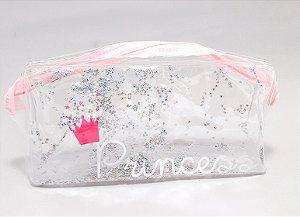 Necessaire Individual Transparente Com Glitter De Estrela - Princess