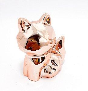Enfeite Decorativo De Porcelana Raposa Rose