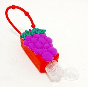 Frasco Quadrado Para Álcool Em Gel Com Capa Em Silicone Vermelho - Temático Fruta