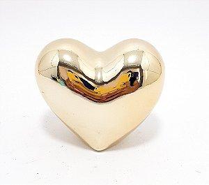 Enfeite Decorativo De Cerâmica Dourado - Temático Coração