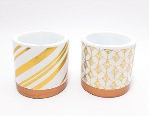 Vaso Para Decoração De Cerâmica - Branco E Dourado