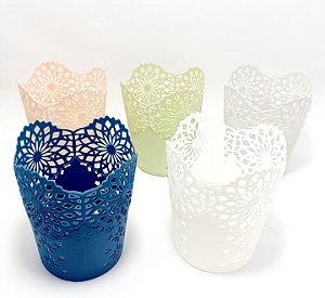 Copo Organizador Multiuso De Plástico Com Borda Floral - Colorido