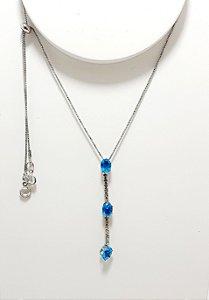 Colar De Prata Com Pedra - Azul
