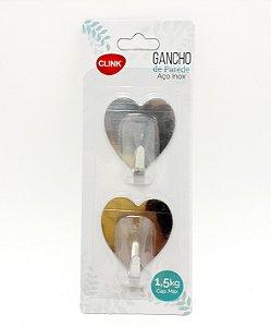 Embalagem Com 2 Ganchos Adesivo Decorativo De Coração - Interponte
