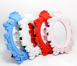Espelho Com Moldura de Plástico Oval - Colorido