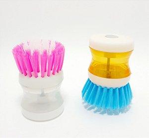 Escova De Limpeza Com Reservatório Para Detergente e Sabão Líquido - Colorido