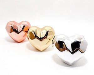 Enfeite Decorativo de Cerâmica Com Relevo Externo - Temático Coração