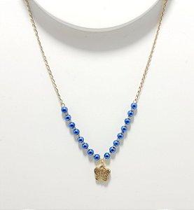 Colar Dourado Com Bolinhas Azul - Borboleta
