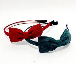 Tiara Para Cabelo Com Arco Fino Com Laço Rústico - Colorido