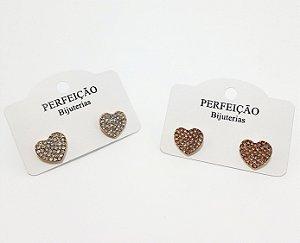 Brinco Dourado De Coração Com Pedrinhas  - REF: PT0416