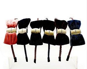 Tiara Para Cabelo Trançada Com Laço De Veludo - Colorido