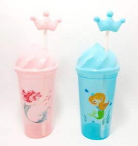 Copo De Plástico Com Tampa E Canudo 650ml Colorido - Sereia