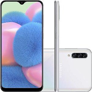 "Smartphone Samsung Galaxy A30s 64GB Dual Chip Android 9.0 Tela 6.4"" Octa-Core 4G Câmera Tripla 25MP + 5MP + 8MP - Branco"
